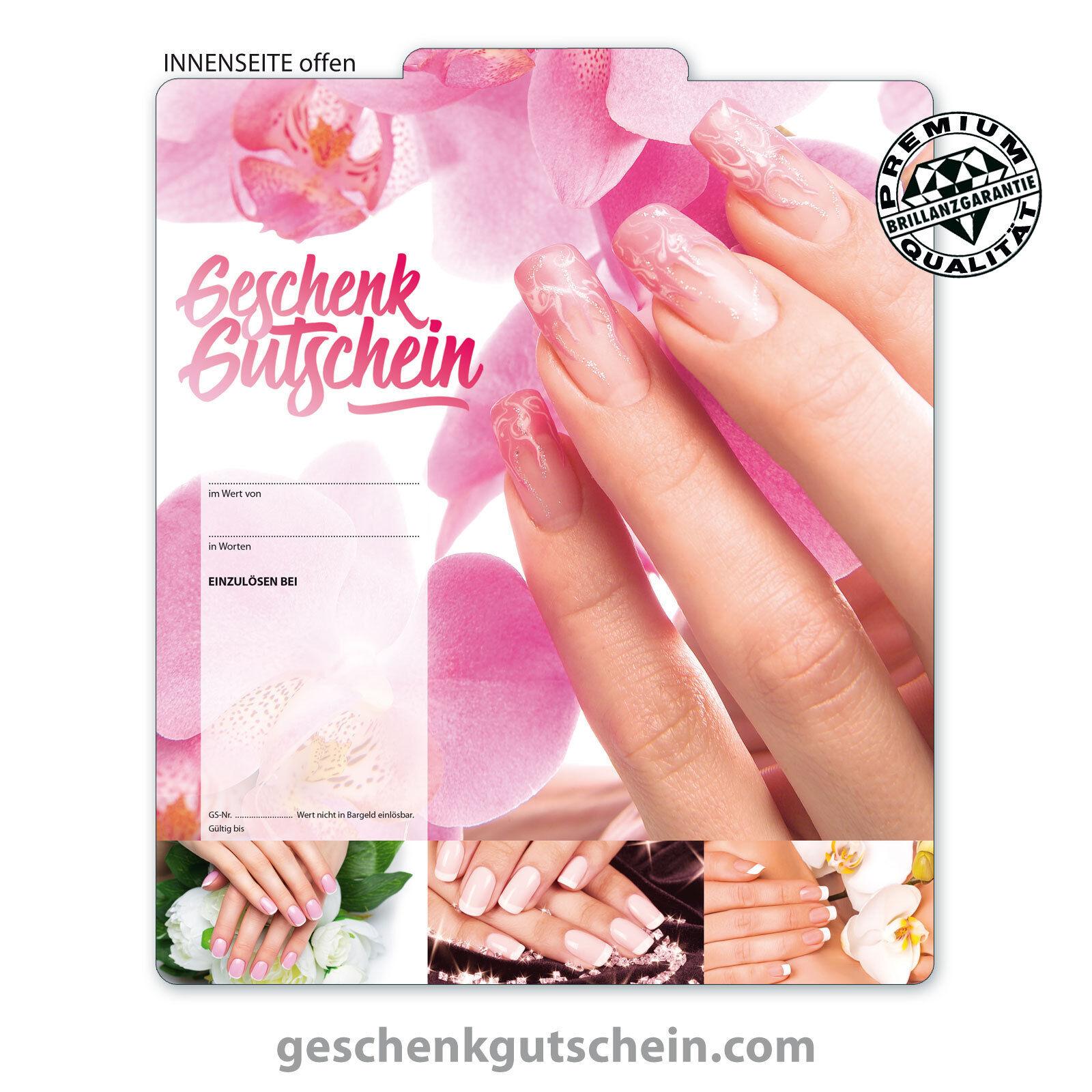 Premium Faltgutscheine  MultiFarbe  für Nagelstudio Nageldesign Kosmetik  KS275