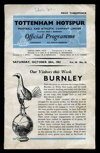 TOTTENHAM-HOTSPUR-v-BURNLEY-Programme-28th-October-1961-Vol-54-No-16-SPURS