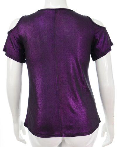 Womens Glitzy Purple Stretch Cut Shoulder Top Ladies  New Party Top