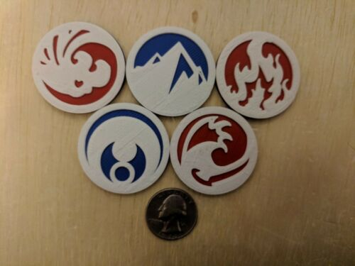 L5R LCG Legend of the Five Rings 5 Reversible Elemental Ring Tokens