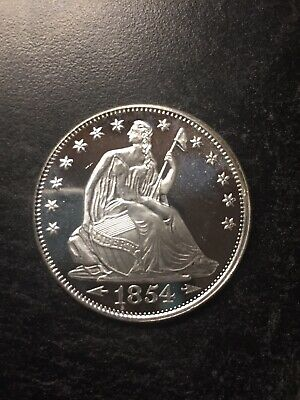 1 oz .999 Fine Silver Round 1854 Seated Liberty Design Style Proof Strike
