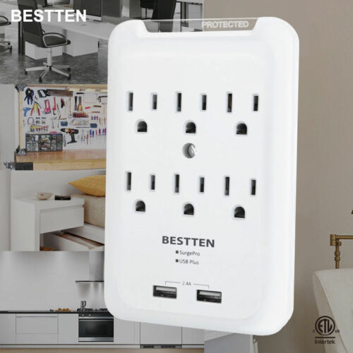 BESTTEN 6 Outlet Surge Protector Wall Adapter Tap with Dual USB Charging Ports