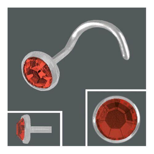925 Silber Nasenpiercing 3,0 mm Nasenstecker Spirale Kristallstein rot Nase