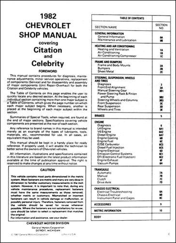 1982 Chevy Citation and Celebrity Repair Manual Chevrolet Repair Service Book