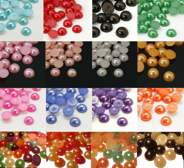 FAUX PEARL HALF BEAD CABOCHONS GEMS ACRYLIC ROUND FLAT BACK EMBELLISHMENT