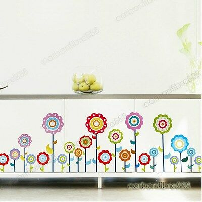 Colourful Flowers Art Decor Wall Stickers for Kids Room