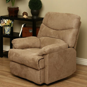 Modern Brown Tan Sage Or Brown Microfiber Recliner Reclining Chair Furniture