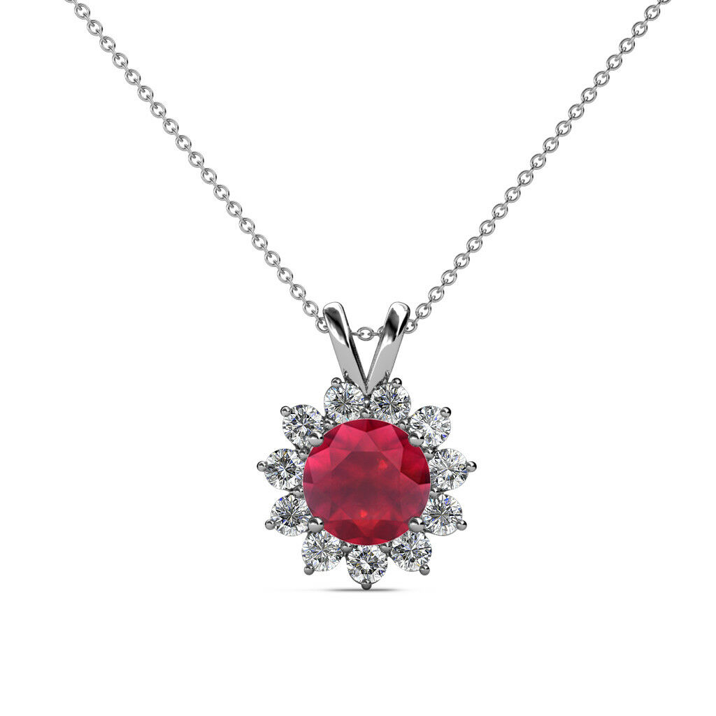 Ruby and Diamond Floral Halo Pendant 1.28 Carat tw in 14K gold JP 77504