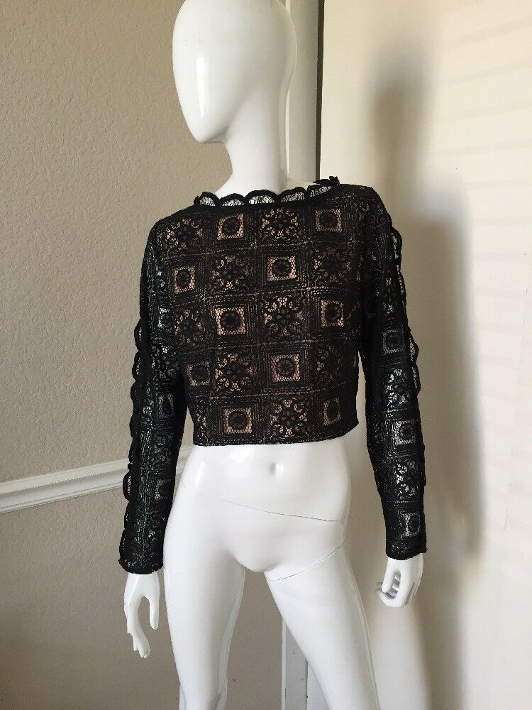 Endless Rosa NEW  schwarz Lace Long Sleeve Cropped Rear Zipper Top Sz L NWOT