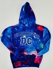 Hoodie Galaxy Washington DC Blue Sweatshirt Embroidered Letters Unisex size MED