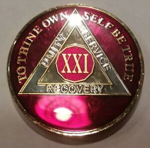 Rich Mandarin Red Enamel Two Second Year II 2 Year AA Sobriety Coin Medallion