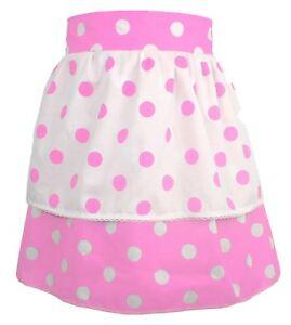 Ladies-1950-039-s-Pink-amp-White-Polka-dot-Pinafore-With-Pink-Polkadot-Apron-One-Size