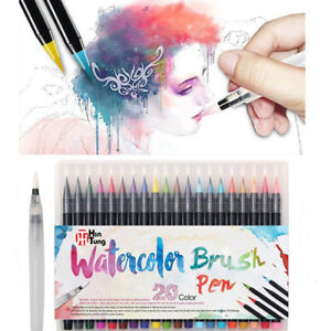 20-Colours Pens Watercolor Drawing Painting Brush Artist Sketch Manga Marker Pen