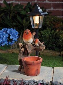 Solar Power Robin Amp Lamp Post Led Decorative Garden Bird