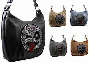 Ladies Handbag XL Shoulder bag Emoji Smiley Women's bag Strass Look! NEW new