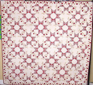 STARS-AND-VINES-ANTIQUE-APPLIQUE-QUILT-1850-WITH-HISTORY-PRE-CIVIL-WAR