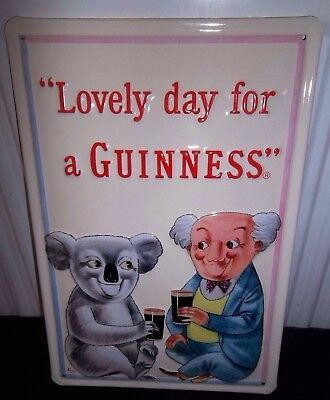 METAL ADVERTISING SIGN 30X20cm PUB//BAR NOTHING LIKE A GUINNESS 3D EMBOSSED