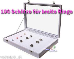 schaukasten schmuckkaste glasdeckel mit 100 schlitze f r breite ringe weiss ebay. Black Bedroom Furniture Sets. Home Design Ideas