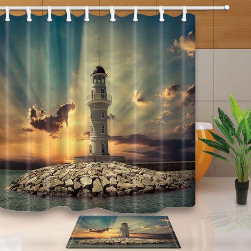 Lighthouse on the sea under sky Shower Curtain Bathroom Waterproof /& 12Hooks