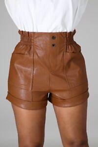 Pantalones Cortos De Cuero De Imitacion Pantalones Cortos Para Mujer Moda Invierno Tamano Mediano Ebay