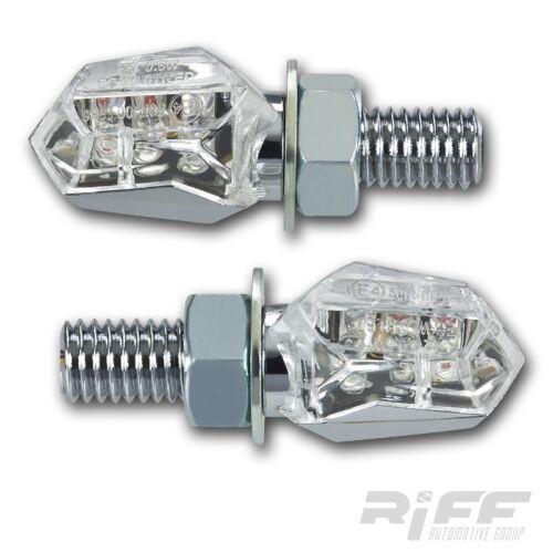 LED Mini Micro Blinker Tiny chrom klar weiss kurz hinten Motorrad Quad ATV