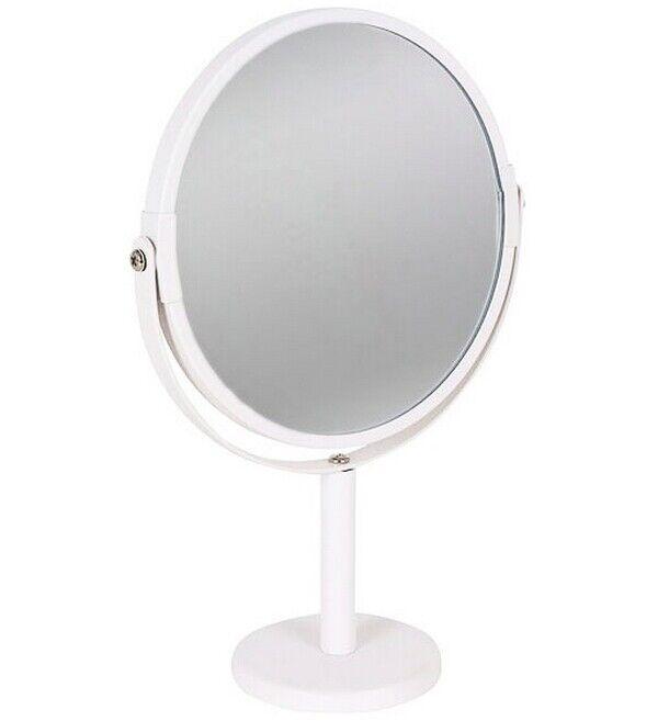 s l1600 - Espejo Doble con Aumento,Ø15cm,metal con pintura blanca,maquillaje,baño,34 x 7,8