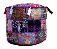 "Handmade 18"" Purple Round Ottoman Pouf Stool Chair Moroccan Pouf Indian Decor"