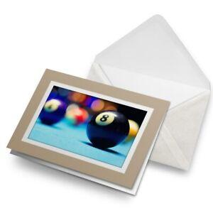 Greetings-Card-Biege-Lucky-8-Ball-English-American-Pool-16449