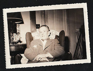Antique-Vintage-Photograph-Older-Man-Sitting-in-Chair-in-Retro-Living-Room