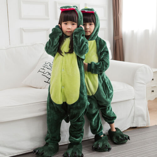 Toddler Kid Boy Girl Pajamas Kigurumi Cartoon Cosplay Hoody Nightwear Sleepwear