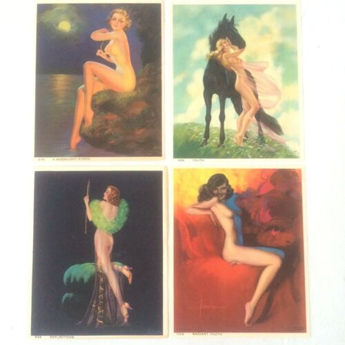 Vintage Calendar Art Nude Pin-ups 4.25 W x 5.25 H (4) 1943