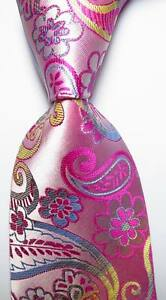 New-Classic-Paisley-Pink-Blue-Yellow-JACQUARD-WOVEN-100-Silk-Men-039-s-Tie-Necktie