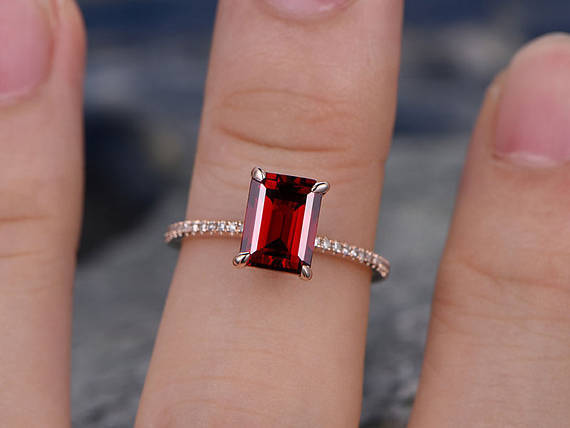 8x6mm Emerald Red Garnet & Diamond 14k pink gold Over Classic Halo Ring Women's