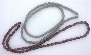 2-Strand-Purple-Gray-8x4-Faceted-Oval-Fiber-Optic-Bead-CLOSEOUT-CLEARANCE-fobc43