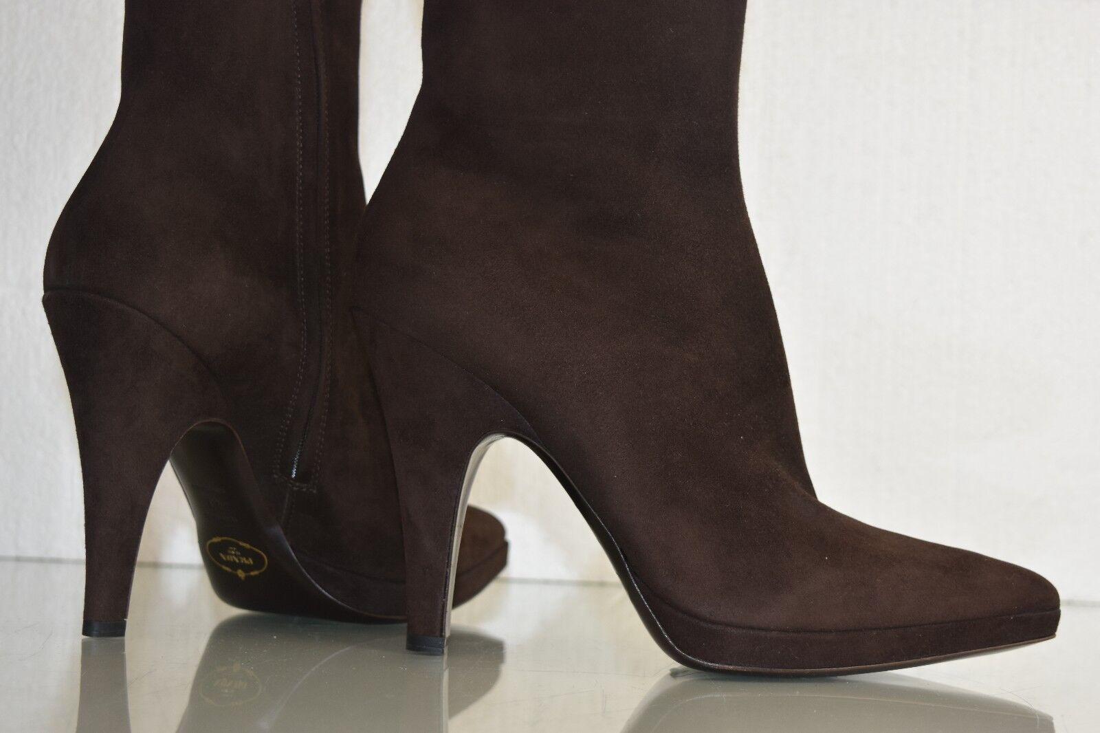 New in Box PRADA PRADA Box Midcalf Stiefel braun Suede Platform Heels schuhe 40 628bc0