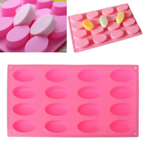 Oval Shape Silicone Mold DIY Resin Pendants 16 Holes Cake Soap Jewelry Mould