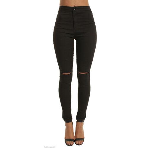 New Womens Black Stretchy Gold Chain Zip Diamante Skinny Jeggings Jean Legging