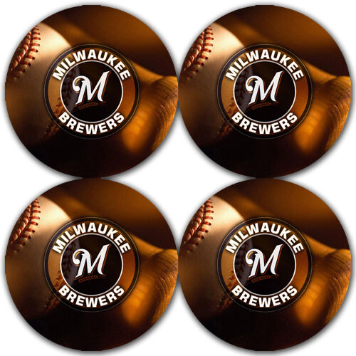Milwaukee Brewers Baseball Rubber Round Coaster set 4 pack // RNDRBRCSTR2015