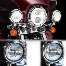 "2x 4.5"" Round Chrome LED Passing Light Lamp Fit For Harley Davidson Touring"