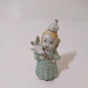 Vintage-Japan-Fine-A-Quality-Angel-Boy-Holding-Bird-Figurine-Napco