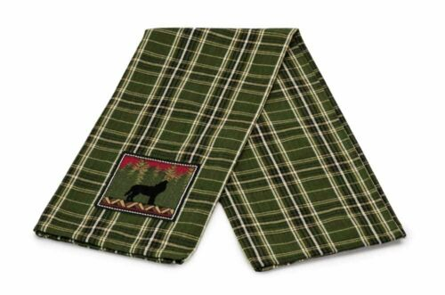 Design Imports WOLF Embroidered Cotton Dish Towel Lodge Cabin Green Plaid