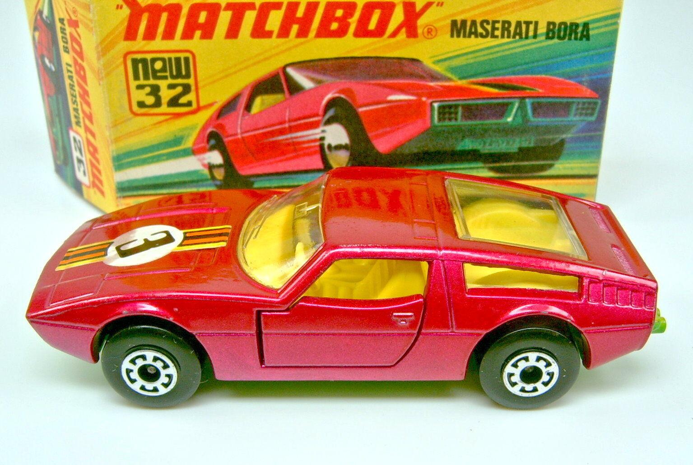 Matchbox SF nº 32b Maserati Bora  3  pegatinas 5 Arch ruedas top en Box