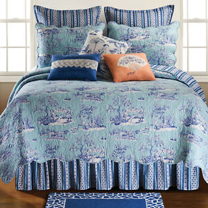 Hampstead Blue Toile Williamsburg 100 Cotton 5 Pc Queen