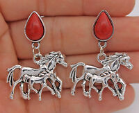 """1.57"""" Cool Double Runing Horses Steed Women Earrings Studs Retro Silver Tone"""