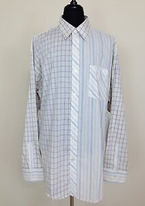 1d49ca1e Details about PSYCHE Mens Dress Shirt 3XL XXXL Button Front Long Sleeve  White Striped Checks