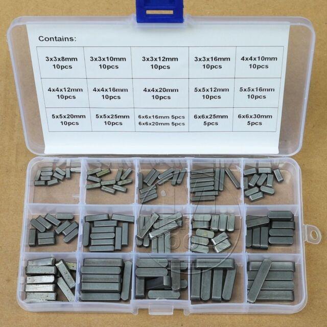140Pcs Set Round Ended Feather Key Drive Shaft Parallel Keys 3mm 4mm 5mm 6mm Kit