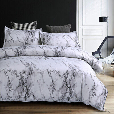 Duvet Cover Set White Marble Bedding Set With Zipper Pillowcases