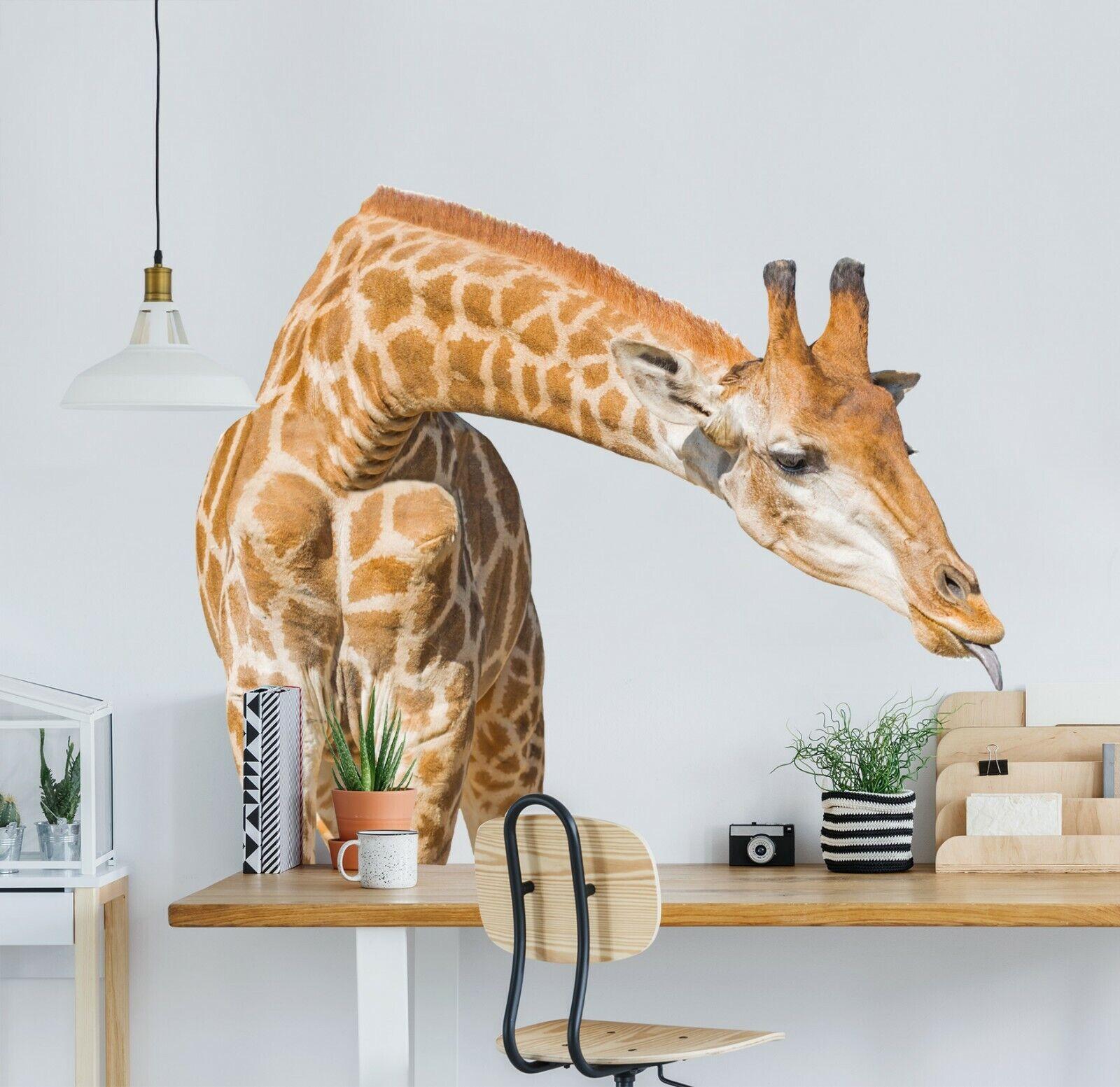3D Giraffe Tongue P17 Animal WandPapier Mural Self-adhesive Removable Zoe