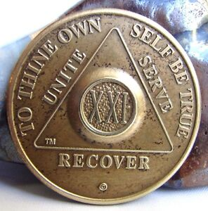 Alcoholics Anonymous AA 21 Year Sobriety Bronze Medallion Coin Chip Token Sober