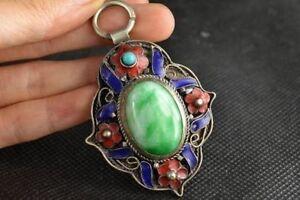 Handwork Old Tibet Silver Inlay Blue Jade Cloisonne Flower Pendant A2
